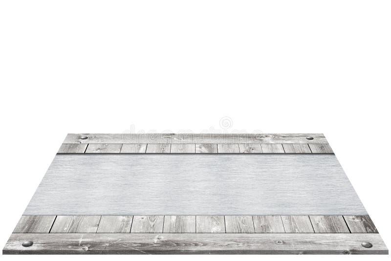 De samenstelling van perspectief grijs houten kader met metaal, aluminium palte is geïsoleerd op witte achtergrond voor uw tekst royalty-vrije stock fotografie