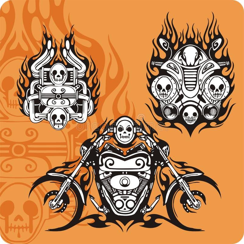 De samenstellingen van de motorfiets royalty-vrije illustratie