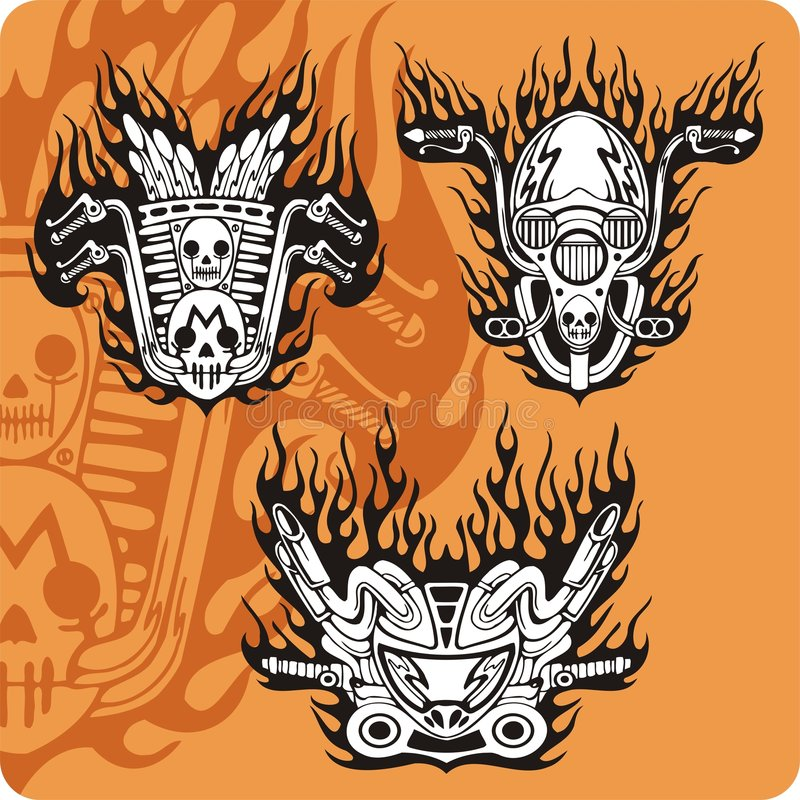 De samenstellingen van de motorfiets - reeks 13 vector illustratie