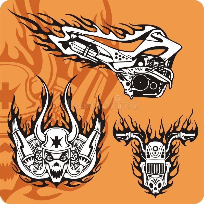 De samenstellingen van de motorfiets - reeks 15 stock illustratie