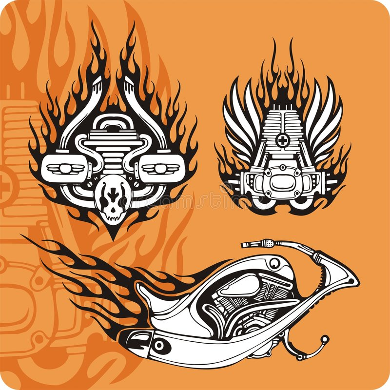 De samenstellingen van de motorfiets - reeks 4 stock illustratie