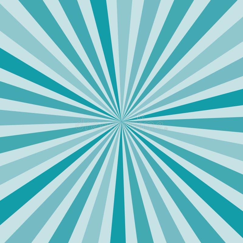 De samenvatting barstte zonnestraalstralen in schaduwen van blauw van centrum, vectoreps10 achtergrond van de pop-art retro stijl royalty-vrije illustratie