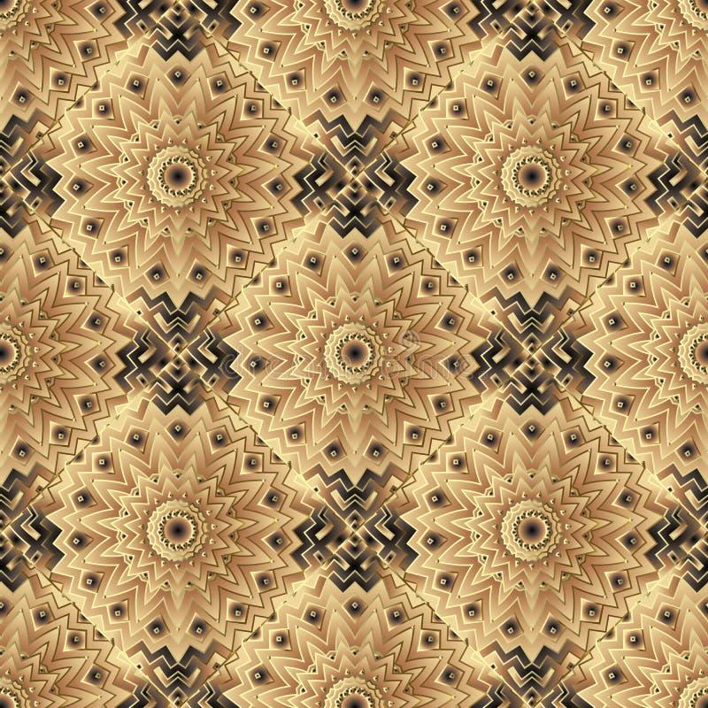 De samenvatting betegelde bloemen vector naadloos patroon Sier kleurrijke geometrische achtergrond Mandalas, bloemen, zigzaglijne vector illustratie