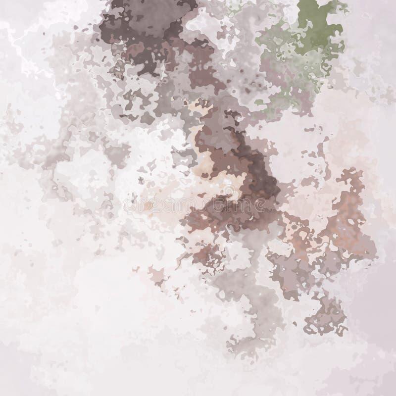 De samenvatting bevlekte patroon vierkante achtergrond lichte poeder roze, mauve en groene kleur - moderne het schilderen kunst - stock illustratie