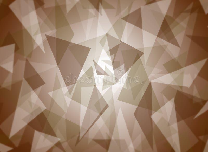De samenvatting bracht aanin lagen bruin driehoekspatroon met helder centrumontwerp als achtergrond royalty-vrije illustratie