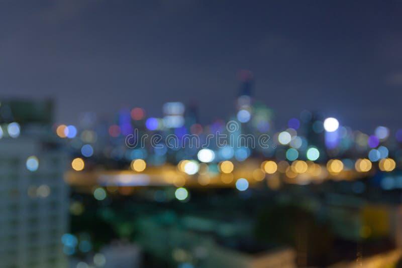 De samenvatting defocused bokeh bedrijfscityscape gebied bij nachtlicht royalty-vrije stock foto's