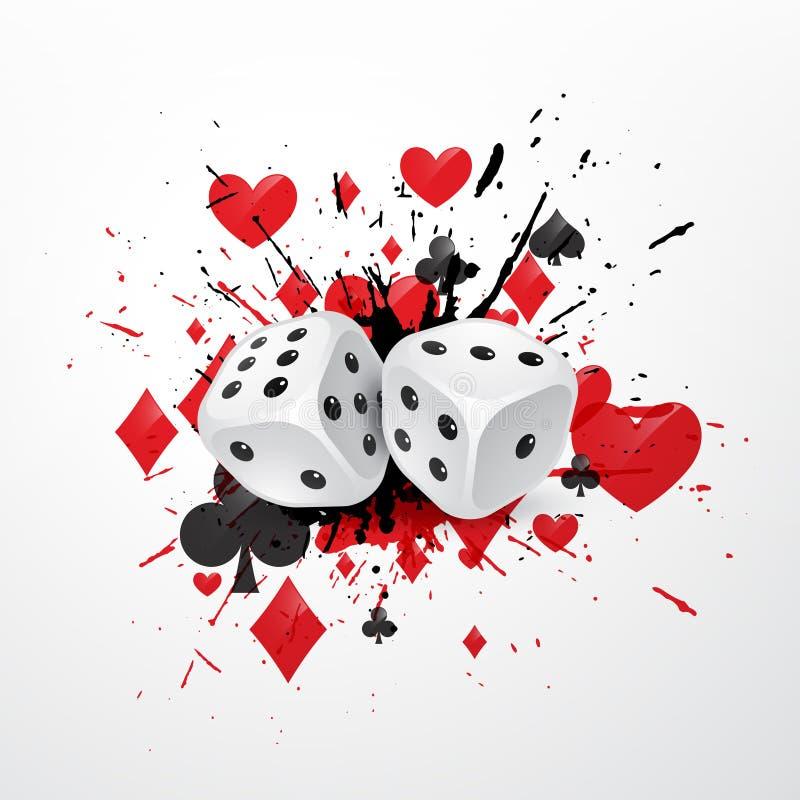 De samenvatting dobbelt achtergrond met ploetert en speelkaartsymbolen royalty-vrije illustratie