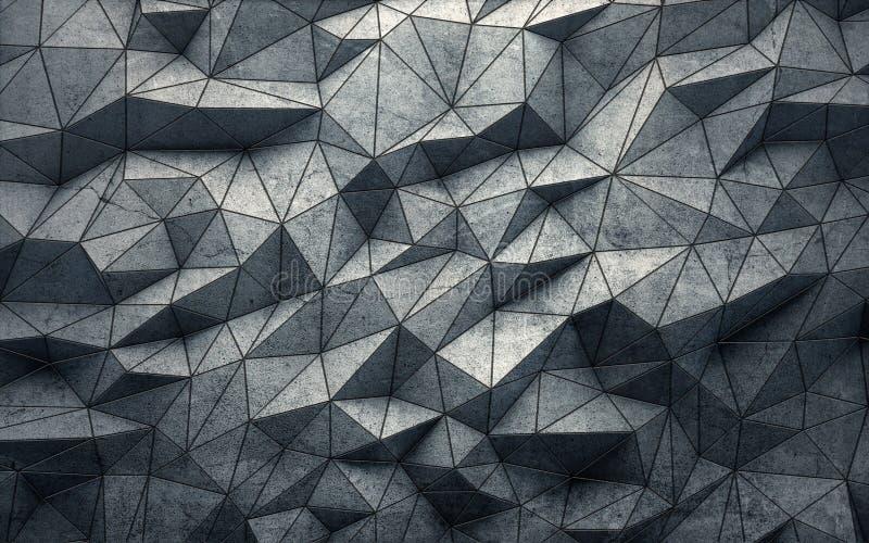De samenvatting facetteerde geometrische concrete achtergrond het 3d teruggeven vector illustratie