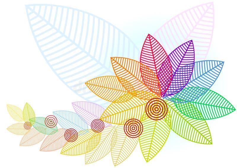 De samenvatting kleurde de Boom van de Herfst van het Patroon van Bladeren royalty-vrije illustratie