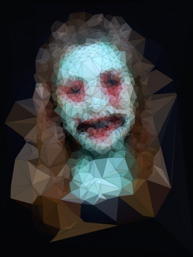 De samenvatting kleurde laag veelhoekig mozaïekportret het 3d teruggeven vector illustratie