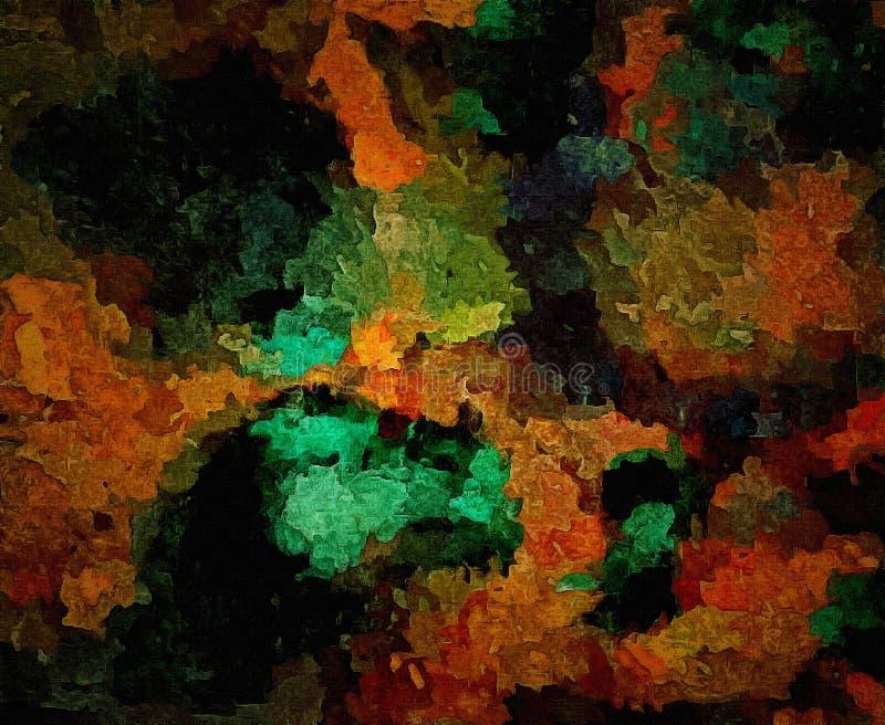 De samenvatting kleurde uitstekende grunge achtergrond met onscherpe chaotische verfslagen op geweven canvascomputer geproduceerd vector illustratie