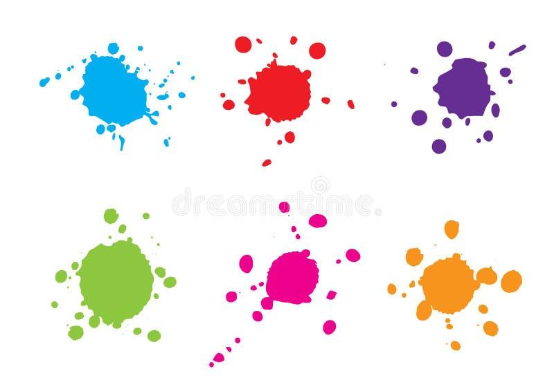 De samenvatting ploetert blauwe rode groene purpere roze oranje kleurenreeks stock illustratie