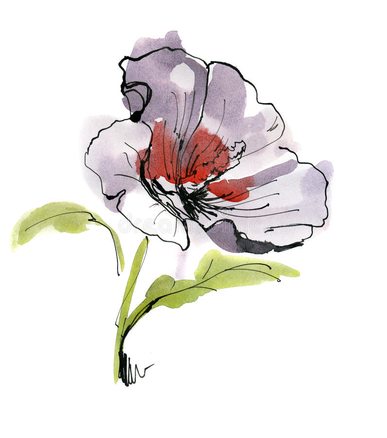 De samenvatting schilderde bloemenachtergrond stock illustratie