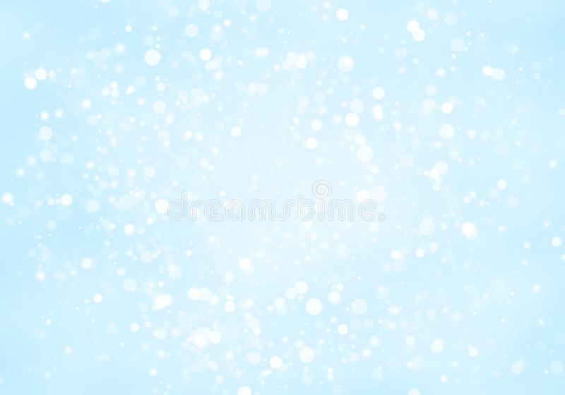 De samenvatting schittert witte cirkelsvorm bokeh op lichtblauwe achtergrond stock foto's