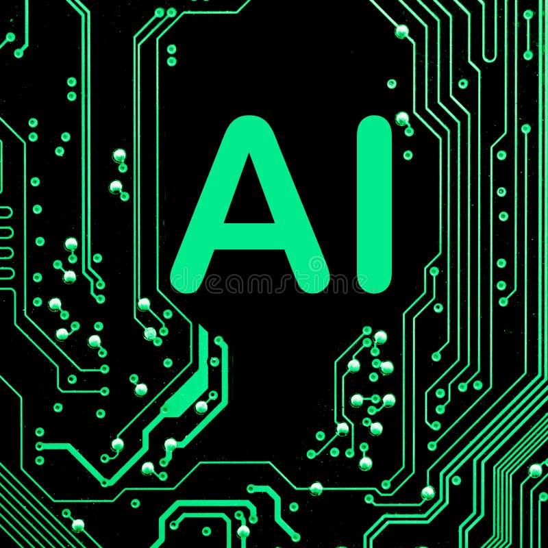 De samenvatting, sluit omhoog van de Elektronische computerachtergrond van Mainboard kunstmatige intelligentie, ai royalty-vrije stock afbeeldingen