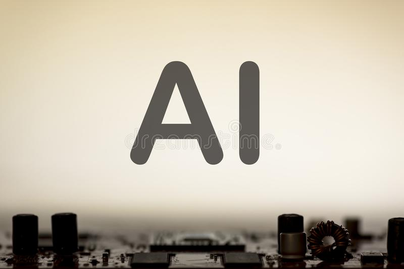 De samenvatting, sluit omhoog van de Elektronische computerachtergrond van Mainboard kunstmatige intelligentie, ai royalty-vrije stock foto