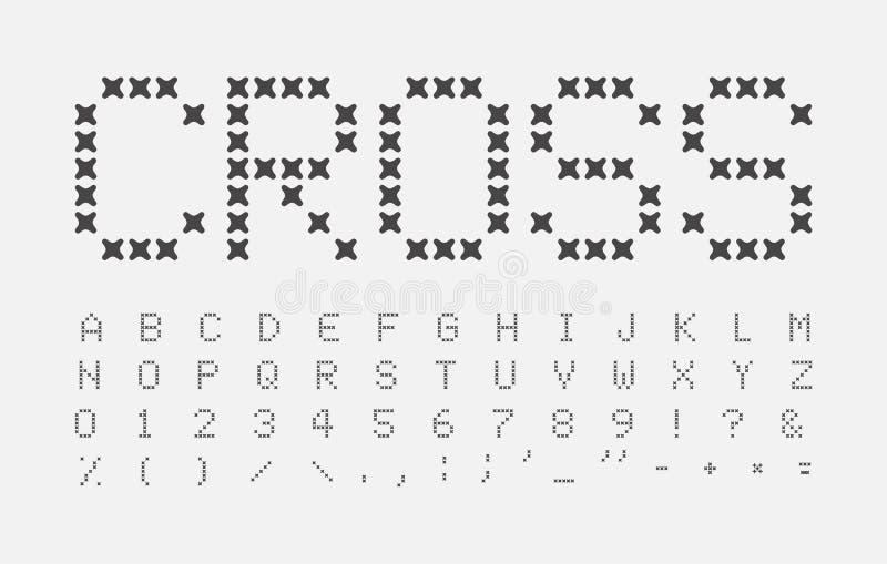 De samenvatting stikt geplaatste brieven Dwarsalfabet Naadkrantekop ABC Het dwarsontwerp van de steekdoopvont Vector zwarte brief stock illustratie