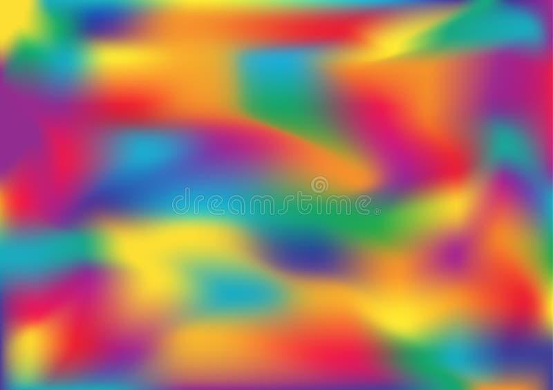 De samenvatting vage achtergrond van het gradiëntnetwerk in heldere regenboogkleuren Kleurrijk vlot bannermalplaatje royalty-vrije illustratie