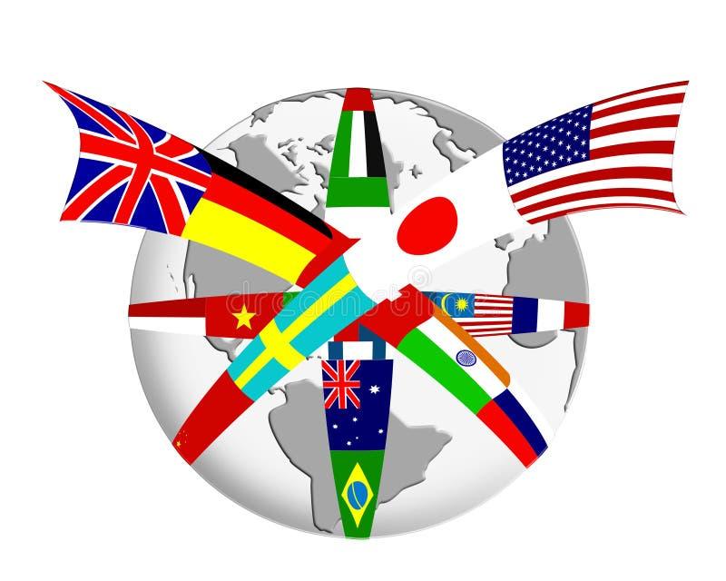De samenvatting van de bol en van de vlag royalty-vrije illustratie