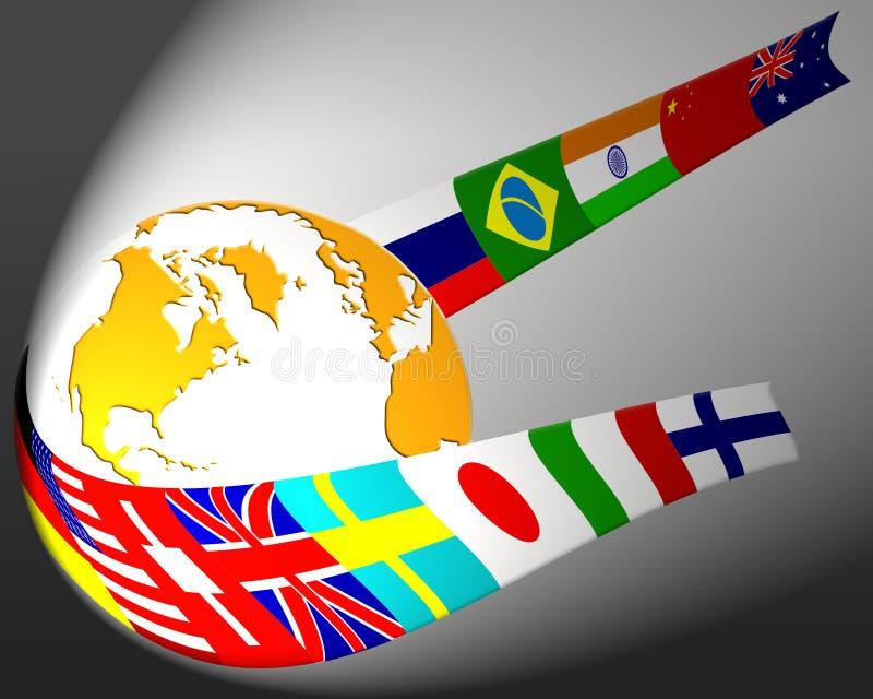 De samenvatting van de bol en van de vlag vector illustratie