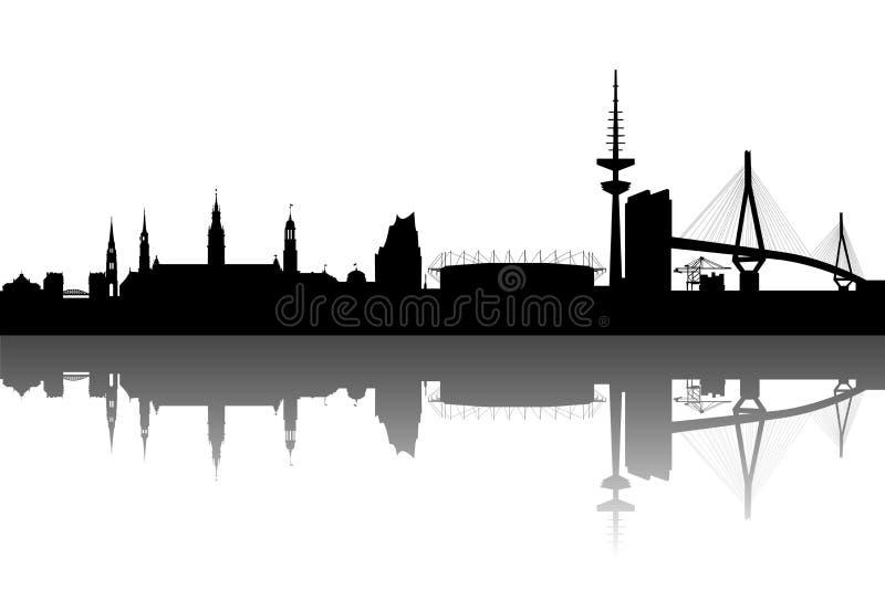 De samenvatting van het Silhouet van Hamburg royalty-vrije illustratie