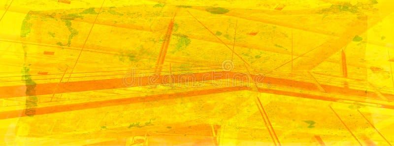 De samenvatting van het station in warme geel op grungeachtergrond vector illustratie