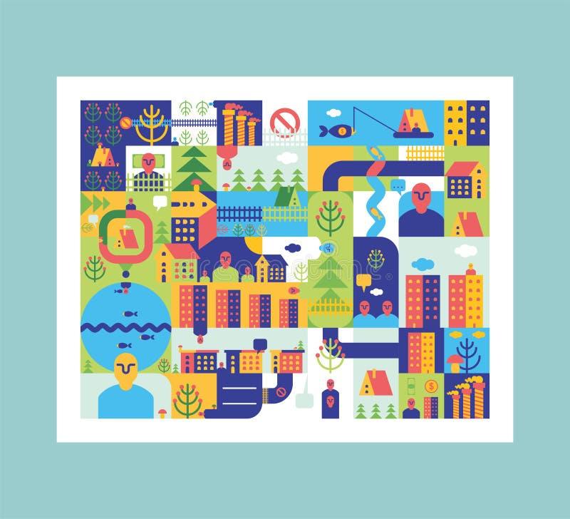 De Samenvatting van de stadskaart Stadsachtergrond Weg en straat Huis en B stock illustratie