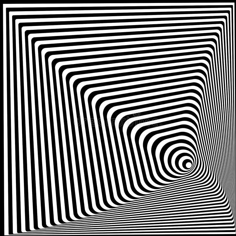 De samenvatting verdraaide zwart-witte optische illusie, gestreepte achtergrond Optisch art 3d vectorillustratie Malplaatje voor vector illustratie