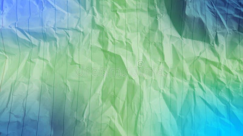 De samenvatting verfrommelde document de elektrische blauwe, blauwe kleur, blauwe, groene kleur, de multiachtergrond van kleureng stock afbeelding