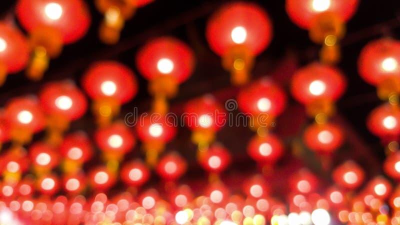 De samenvatting vertroebelde Chinese lamp en bokeh achtergrond stock afbeelding