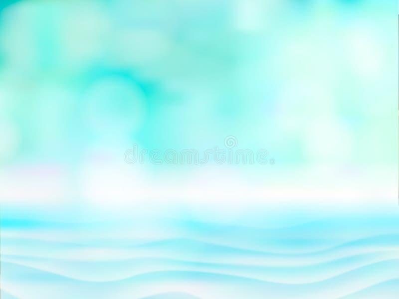 De samenvatting vertroebelde licht op blauw water, overzees of oceaanachtergrond voor zomer Leeg defocused blauwe bokehvector vector illustratie