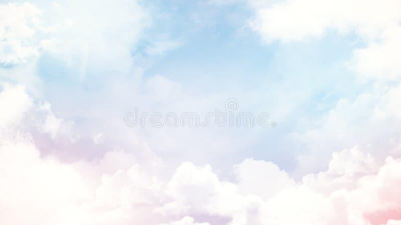 De samenvatting vertroebelde mooie zachte wolkenachtergrond met een pastelkleur multicolored gradiënt met bokeh stock afbeeldingen