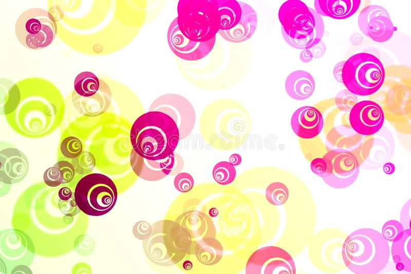 De samenvatting vertroebelde witte achtergrond met helder kleurrijk fractal patroon in de vorm van bellen, fantasiecirkels stock illustratie