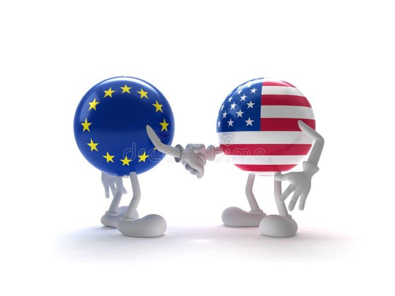 De samenwerking van de V.S. en de EU royalty-vrije illustratie