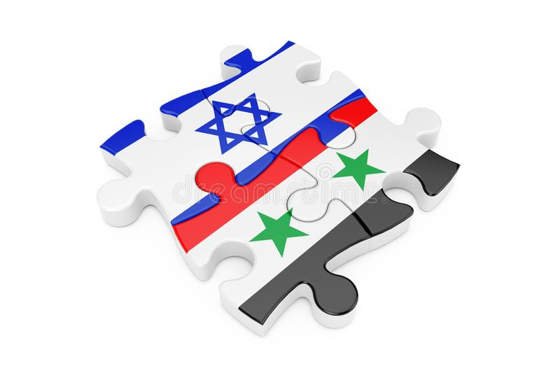 De Samenwerkingsraadsel van Israël en van Syrië als Vlaggen het 3d teruggeven vector illustratie
