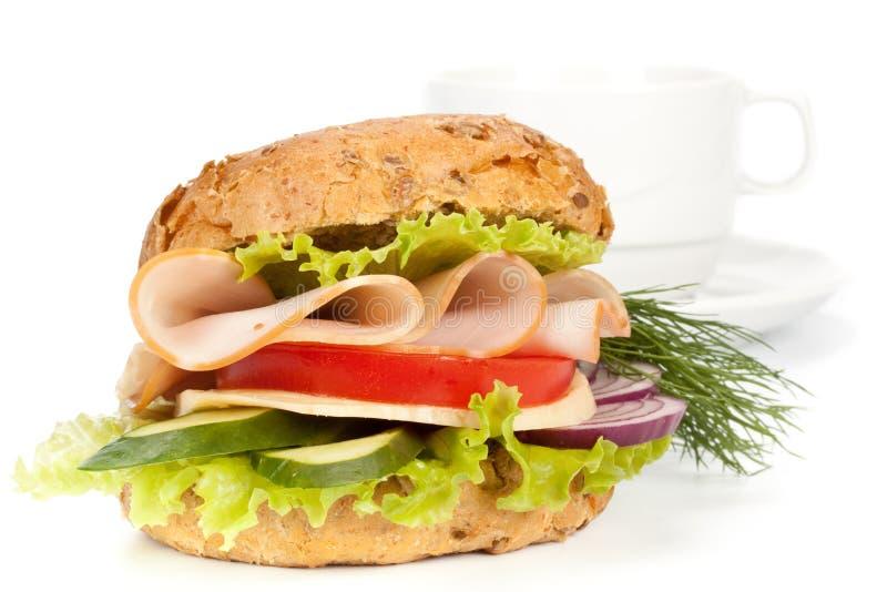 De sandwich van de ham en kop van koffie royalty-vrije stock foto