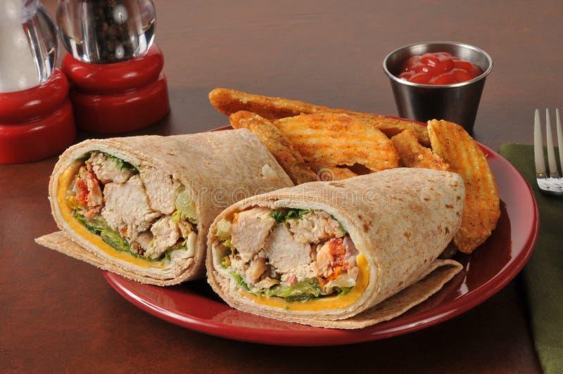 Download De Sandwich Van De Kippenomslag Stock Foto - Afbeelding bestaande uit vlees, voedsel: 39116954