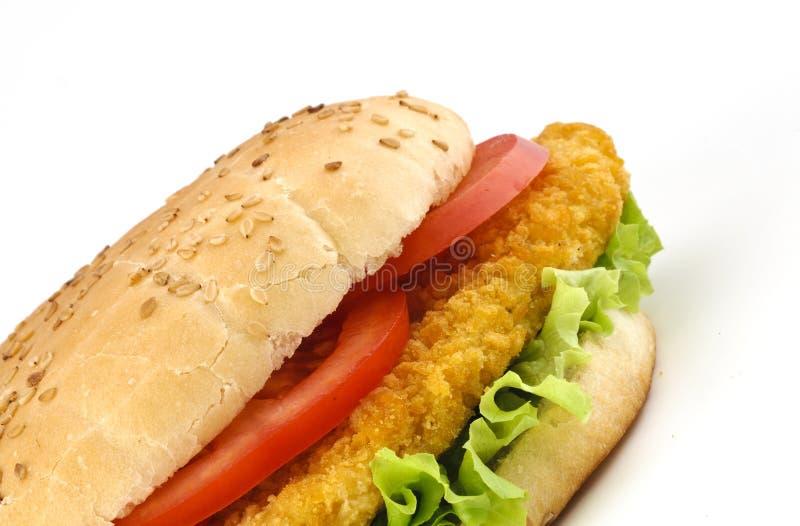 De sandwich van de kotelet met salade en tomaten royalty-vrije stock afbeeldingen