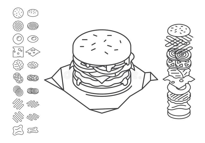 De Sandwich van de lijnstijl op Ingrediënten uit wordt uitgespreid dat stock illustratie