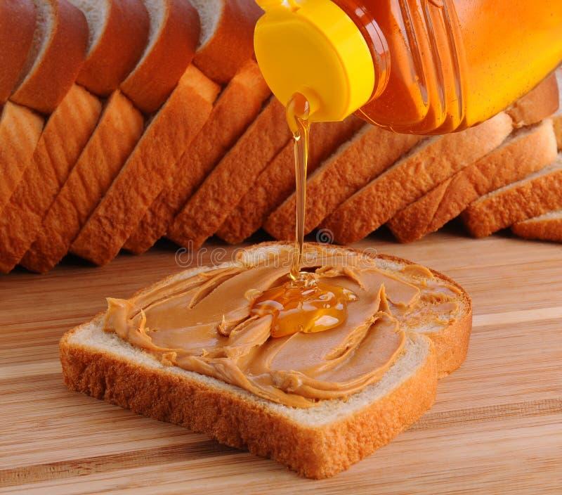 De Sandwich van de Pindakaas en van de Honing stock foto's