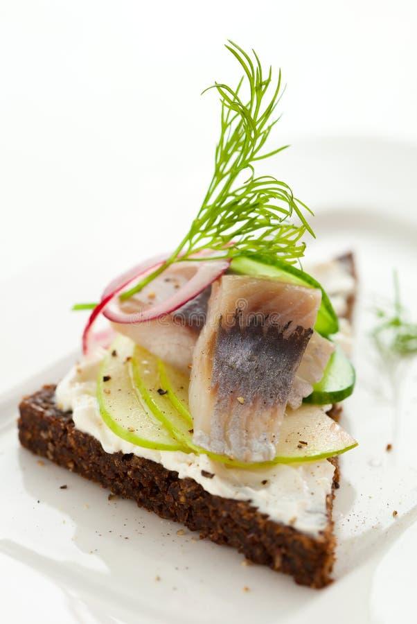 De sandwich van haringen stock foto's