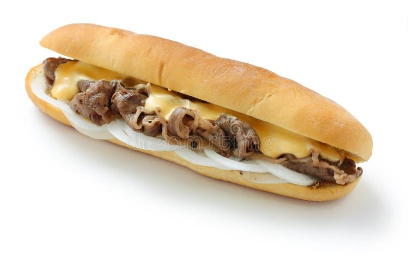 De sandwich van het de kaaslapje vlees van Philly stock afbeeldingen