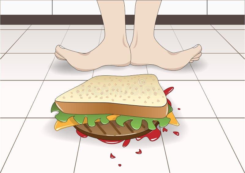 De sandwich viel tot vloertop down, vectorillustratie stock illustratie