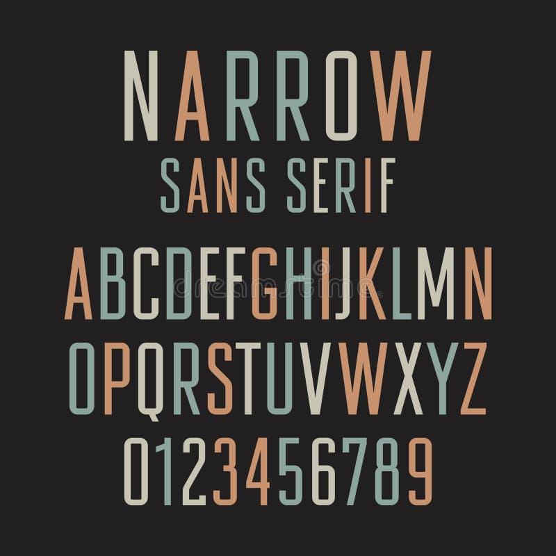 De sans serif estrecho 001 ilustración del vector