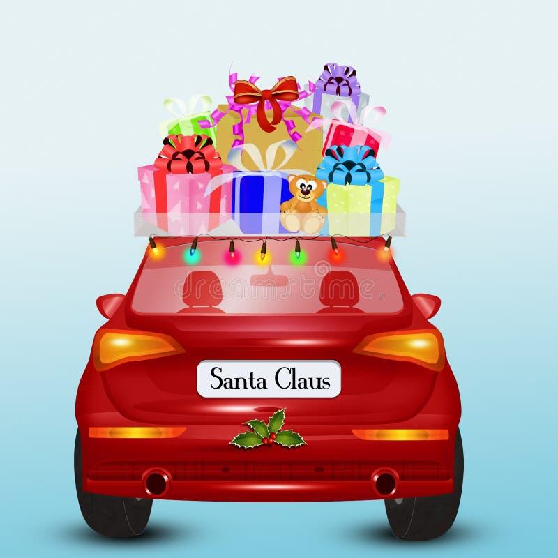 De Santa Claus-auto brengt de giften royalty-vrije illustratie