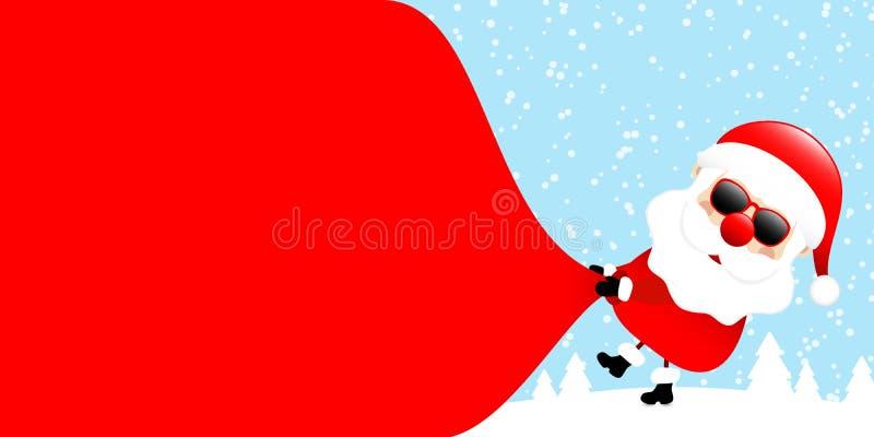 De Santa Sunglasses Pulling Gift Bag lado derecho Forest Blue al revés ilustración del vector