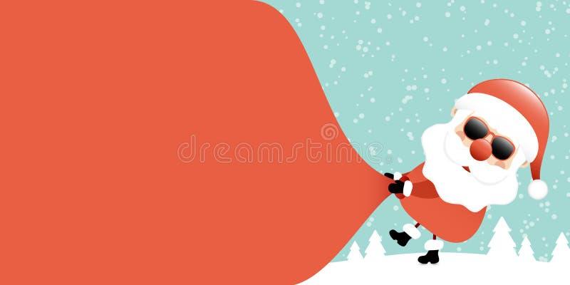 De Santa Sunglasses Pulling Gift Bag lado derecho Forest Turquoise al revés libre illustration