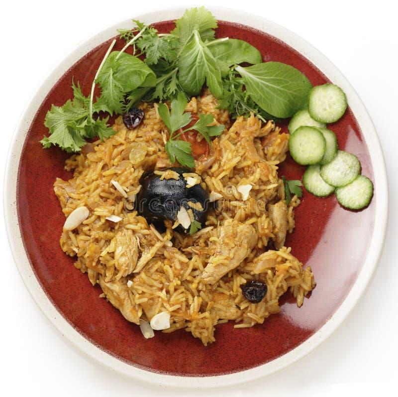 De Saoedi-arabische maaltijd van kippenkabsa van hierboven royalty-vrije stock fotografie