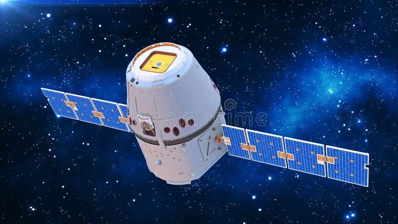 De satelliet in ruimte, communicatiesatelliet met zonnepanelen in kosmos met sterren op de achtergrond, hoogste 3D mening, geeft  stock illustratie