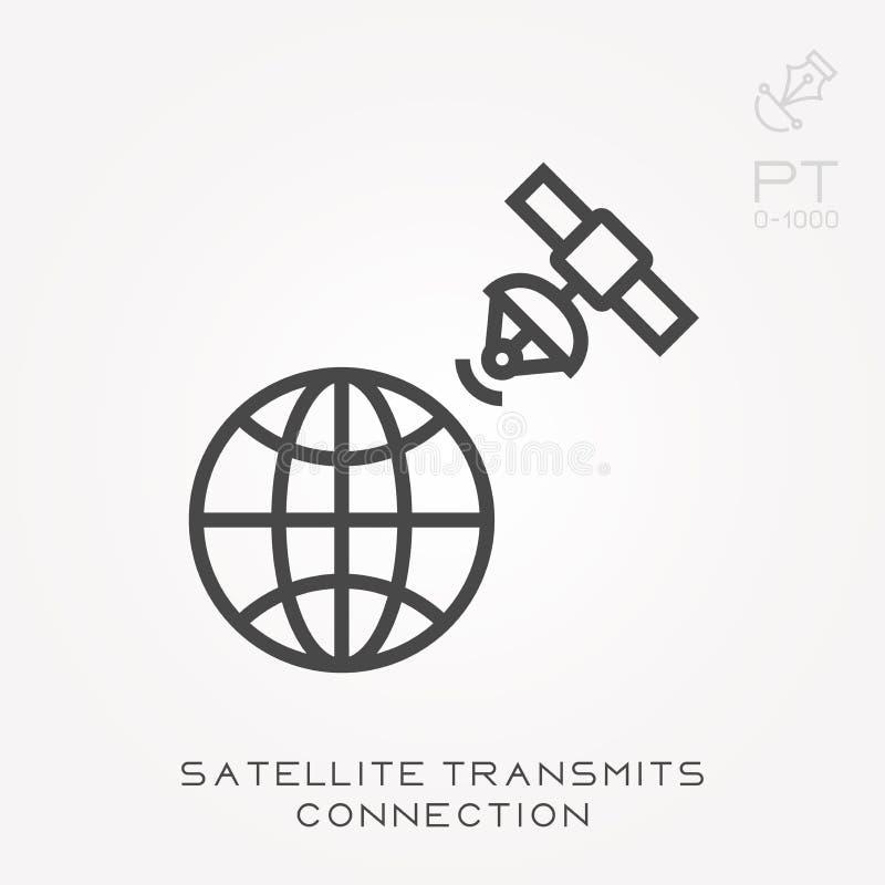 De satelliet van het lijnpictogram brengt verbinding over stock illustratie